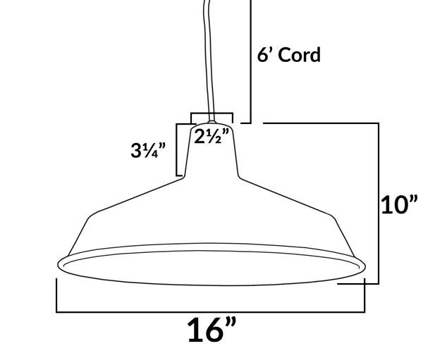 AQ-PL925 Ceiling Mounted Barn Shade Pendant Dimensions Diagram