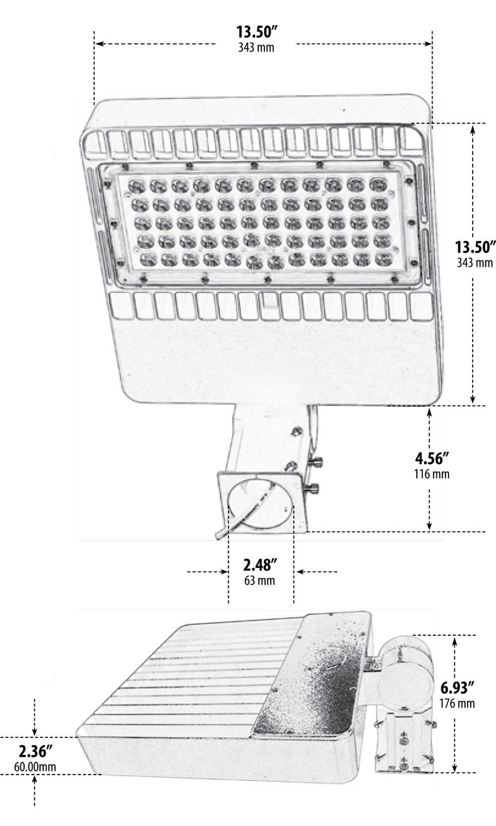 DF-LED7755 LED Large Flood Light Dimensions Diagram