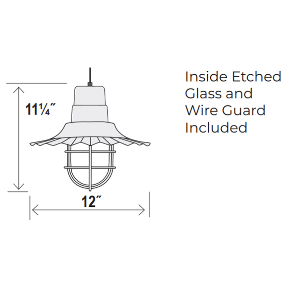 Small Radial Wave Style Pendant Dimensions