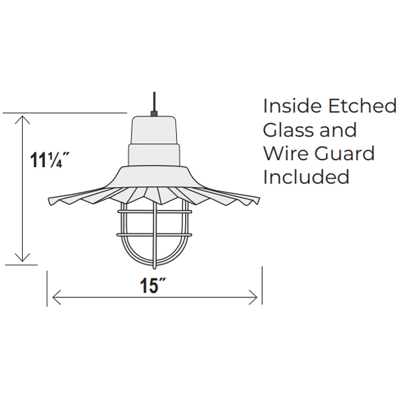 Medium Radial Wave Style Pendant Dimensions