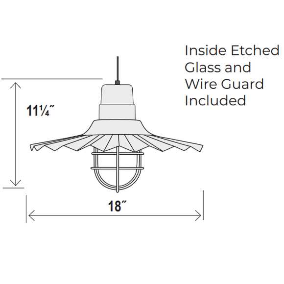 Large Radial Wave Style Pendant Dimensions