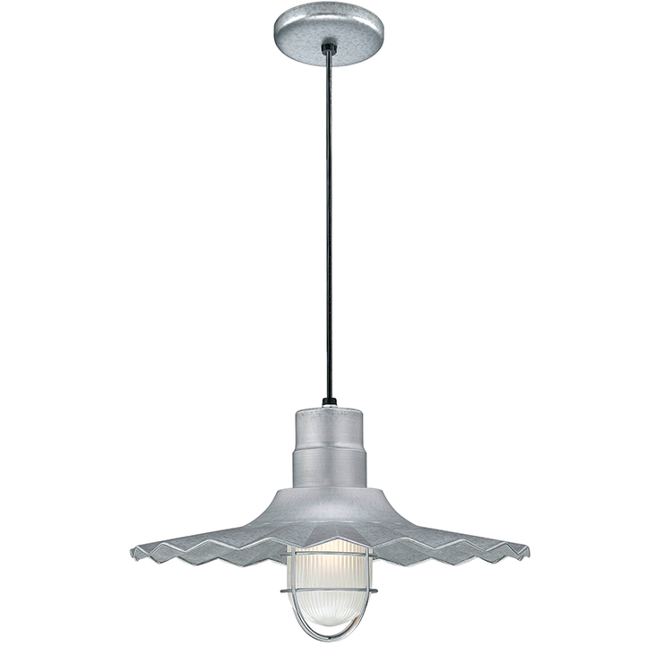 Galvanized Radial Wave Style Shade with Ceiling Stem Mount