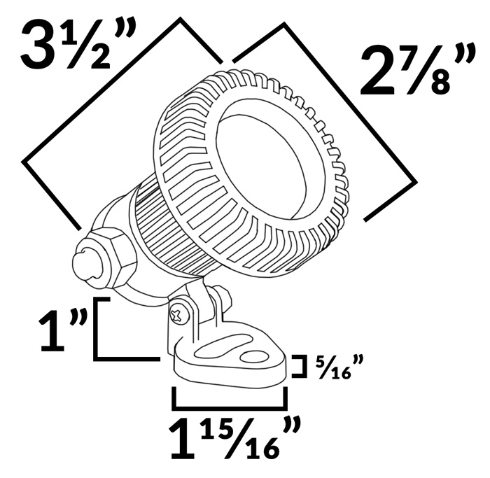PUM001 Composite Mini Underwater Spotlight Dimensions Diagram