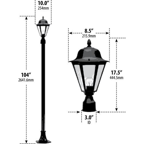 60w Daniella Lamp Outdoor Post Light Aqlighting