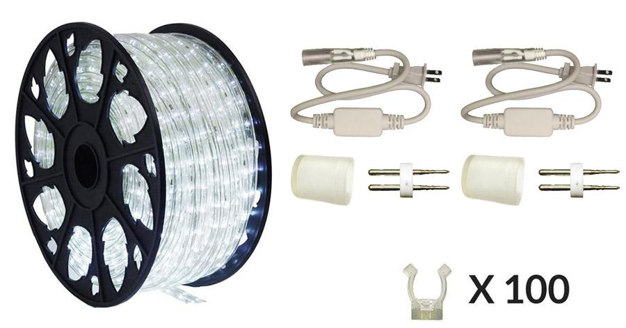 cool white led rope light kit 150ft spool aqlighting. Black Bedroom Furniture Sets. Home Design Ideas