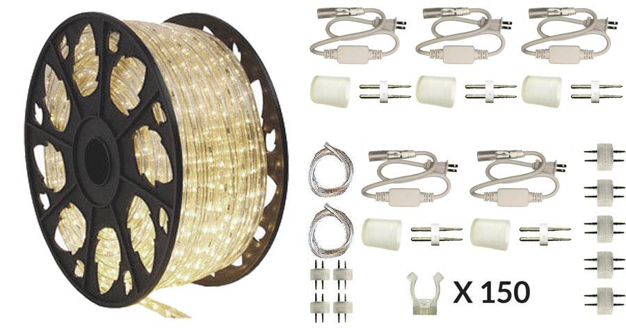 warm white 2 wire led rope light 150ft kit aqlighting. Black Bedroom Furniture Sets. Home Design Ideas