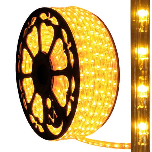 Dimmable led amber rope light 150ft spool aqlighting 513pro series amber led rope light close up aloadofball Choice Image