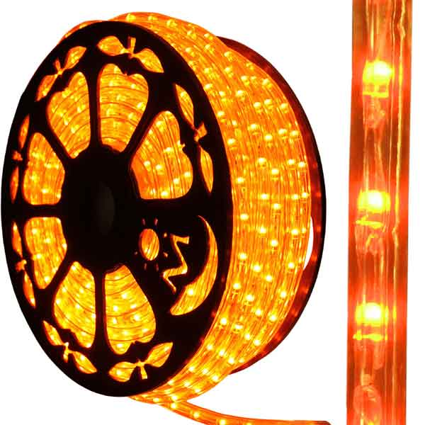 Dimmable led orange rope light 150ft spool aqlighting 513pro series orange led rope light close up aloadofball Image collections